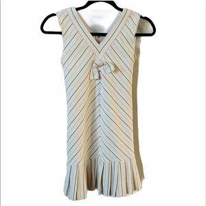 Helena v-neck pink/green stripe dress w/pleats